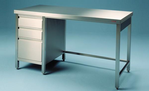 Edelstahl Arbeitstisch unterfahrbar mir Schubladenblock- Tiefe 600 mm - SCHOLL Modell TIRO