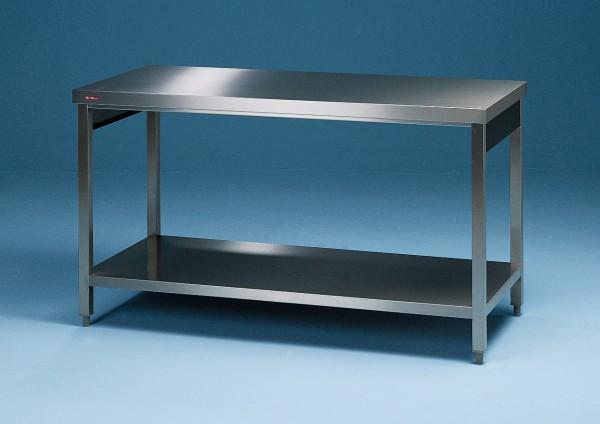 Edelstahl Arbeitstisch mit Grundboden - Tiefe 600 mm - SCHOLL Modell TIRO