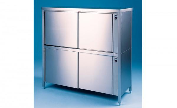 Durchreiche Wärme-Hochschrank / Geschirrschrank 2-etagig, Tiefe 600mm, Schiebetüren beidseitig