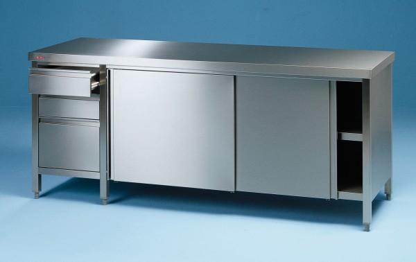 Arbeitsschrank mit Schiebtüren und Schubladenblock - Tiefe 600 mm Made in Germany by SCHOLL