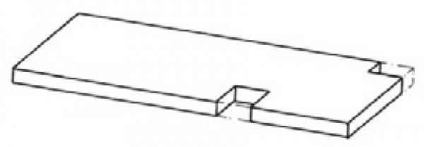 Tischplattenausschnitt hinten mit Ab- / Aufkantung