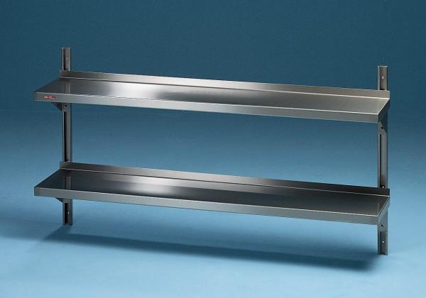 Edelstahl Wandbord 2 Etagen mit Stellschienen - Tiefe 300 mm Scholl Made in Germany
