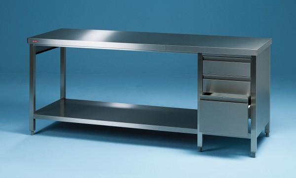 Edelstahl Arbeitstisch mit Grundboden und Schubladenblock - Tiefe 600 mm - SCHOLL Modell TIRO